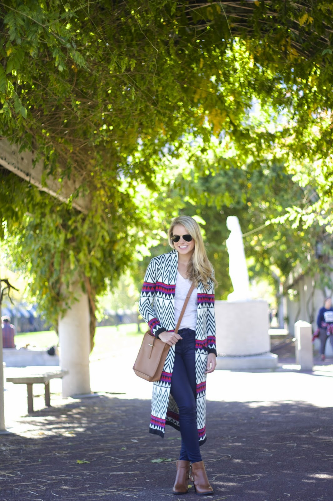 tribal print sweater, long cardigan, coated denim, what to see in boston