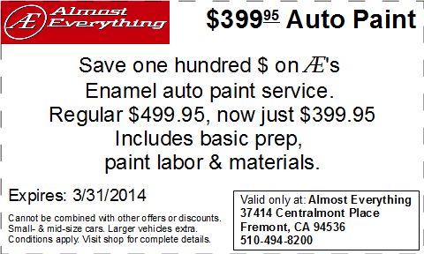 Coupon Almost Everything $399.95 Car Paint Sale March 2014