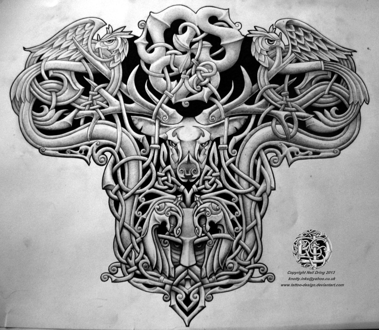 Celtic Warrior Men Tattoo Design Lawas