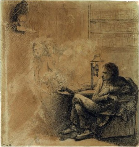 Dante Gabriel Rossetti 1828-1882 illustrates Edgar Allan Poe's The Raven