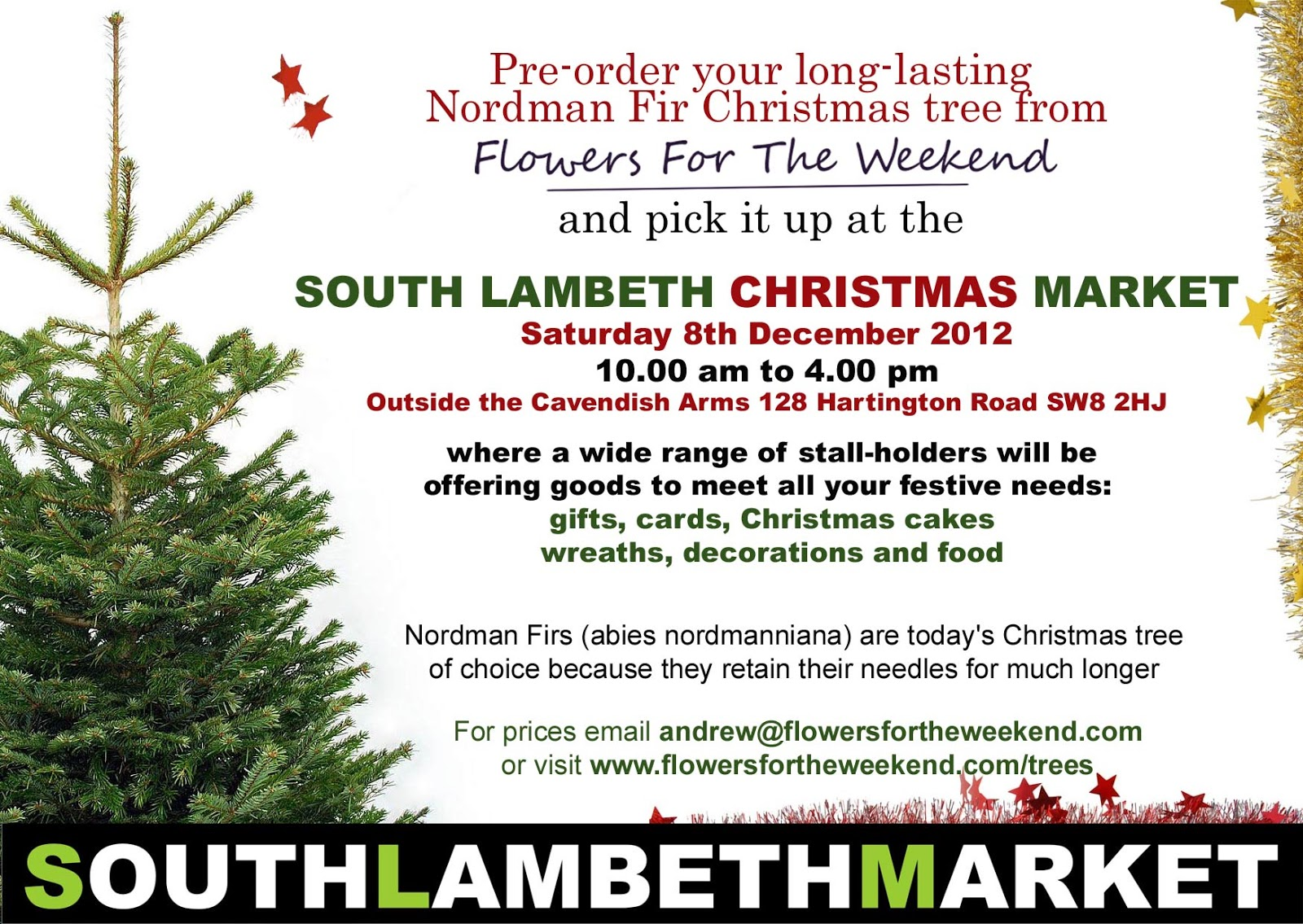 Time to order your Christmas tree | Tradescant Road and South Lambeth