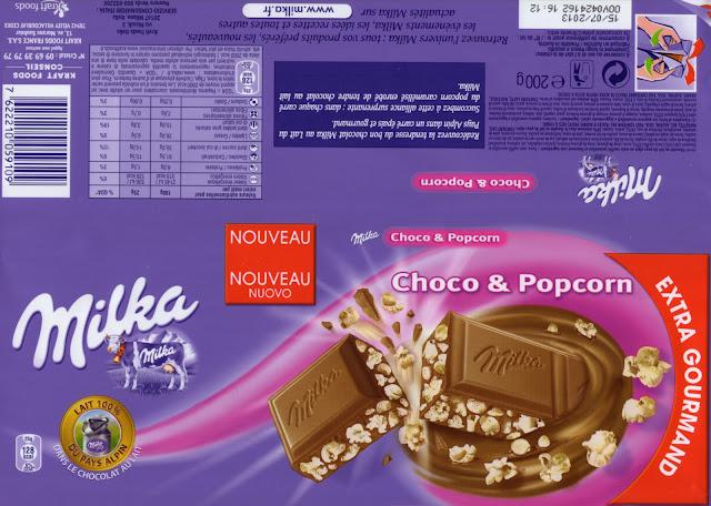 tablette de chocolat lait gourmand milka choco & popcorn