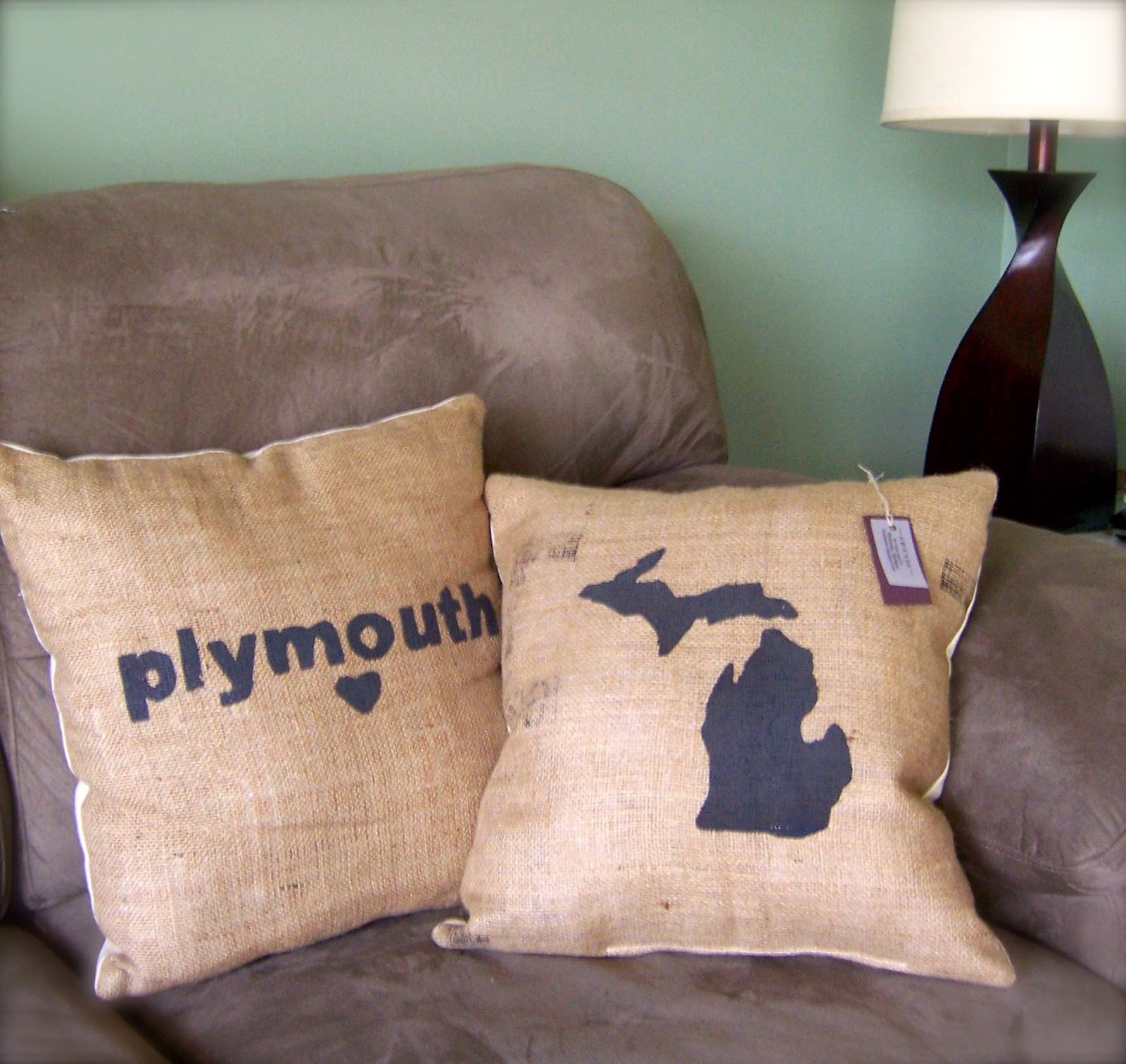 Michigan burlap pillow lina and vi plymouth
