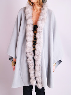 Vintage grey cashmere cape with fox fur trim.