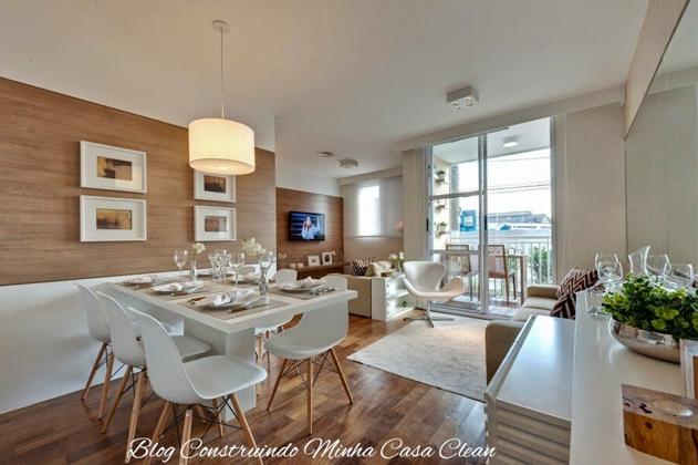 Sala De Estar E Jantar Moderna ~ 19 Madeira no piso e nos painéis da sala de jantar e estar! Móveis