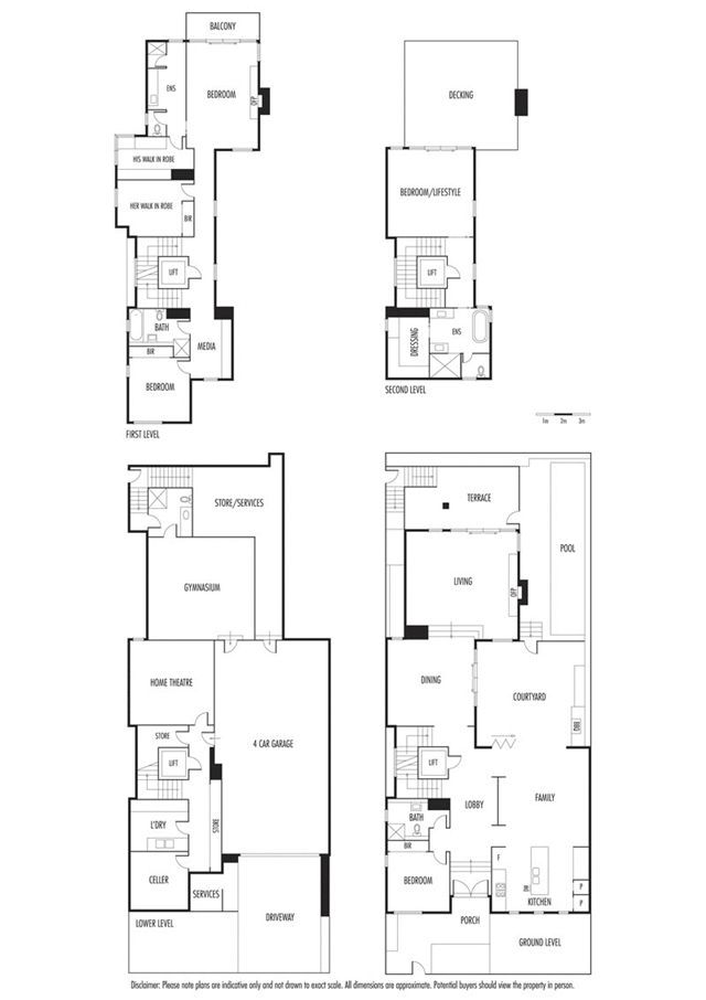 Floor plans of all four floors including the roof
