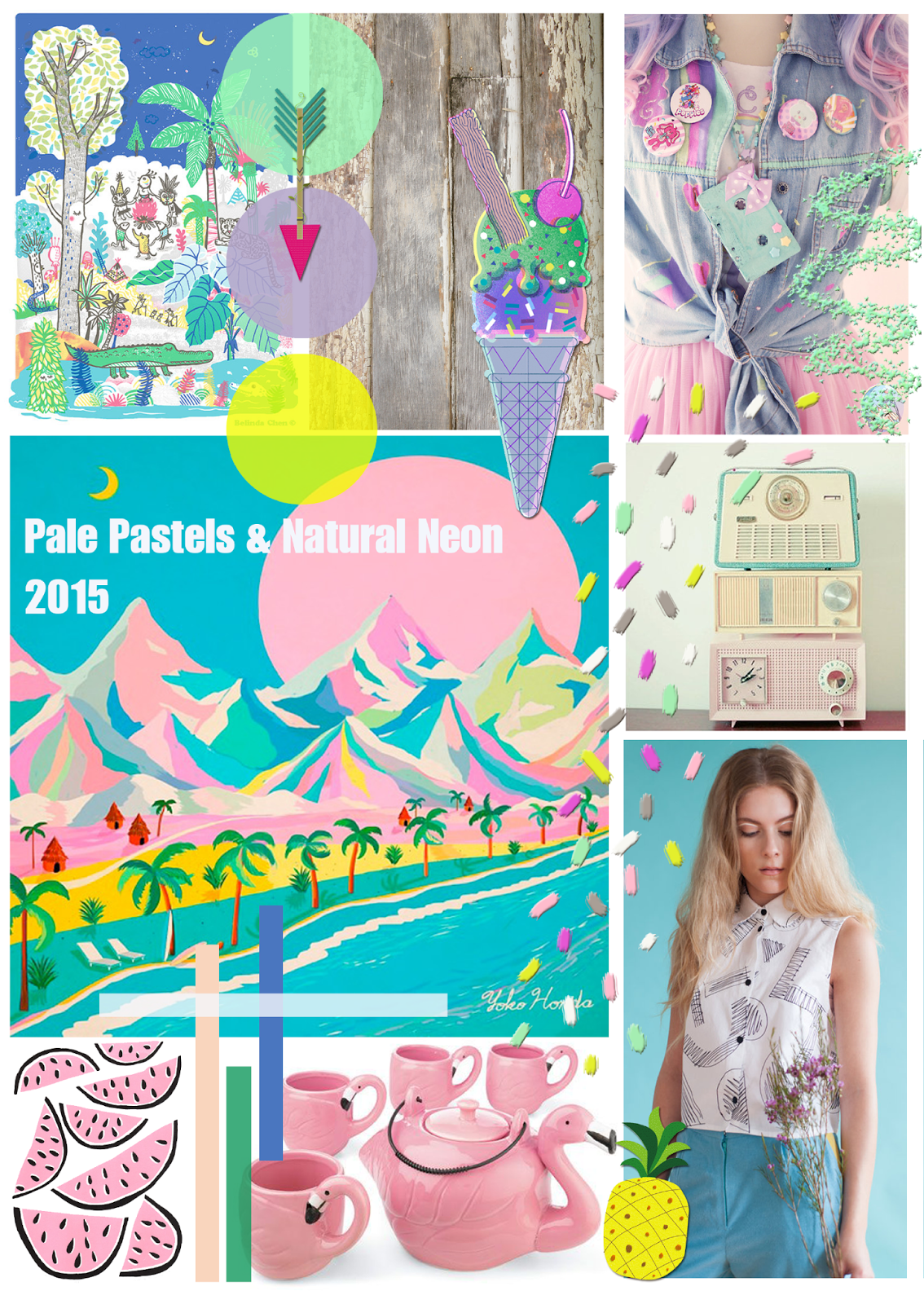 Ma Bicyclette: What's Hot In The World Of Design Spring-Summer 2015 | Pale Pastels & Neutral Neon Trend - Images from top to bottom, left to right - Bels Art World / Philip Dennis / Yoko Honda / Cassia Beck / Loela / Mengsel  Stylesheet by Stephanie Bertenshaw from Felt Mountain Studios for Ma Bicyclette