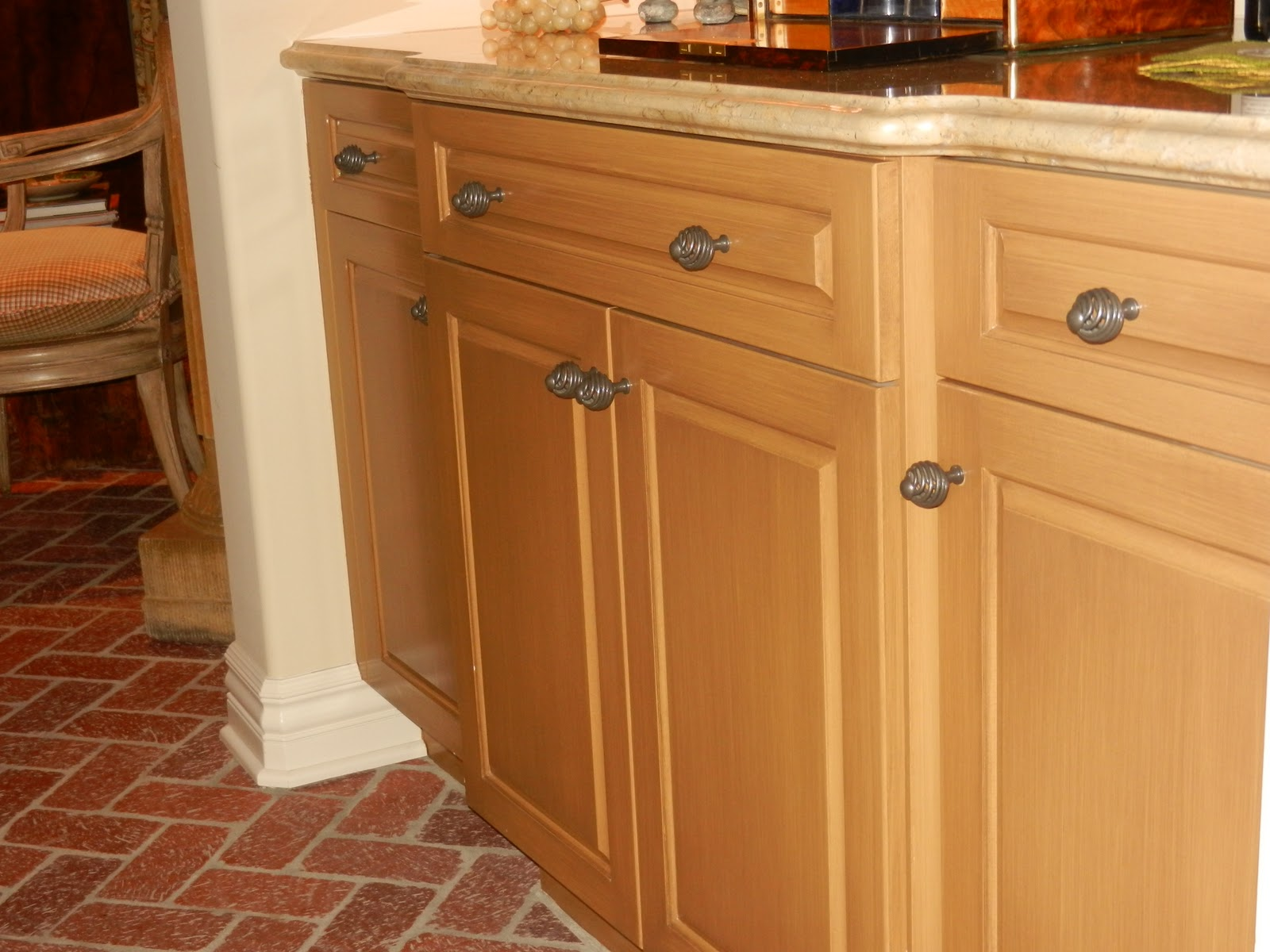 He painted and glazed the butler's pantry cabinetry in a gorgeous