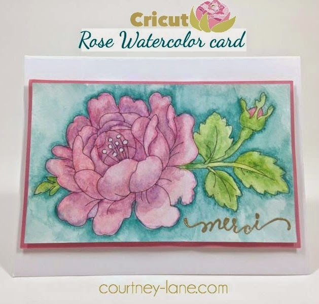 Cricut Rose Watercolor card