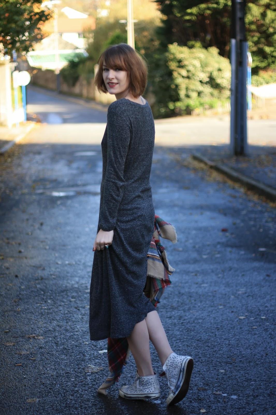 robe longue grise zara trf