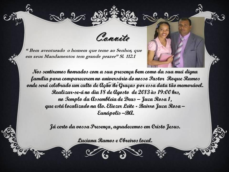 Convite Culto De Ações De Graças Pelo Aniversario Do Pastor Roque