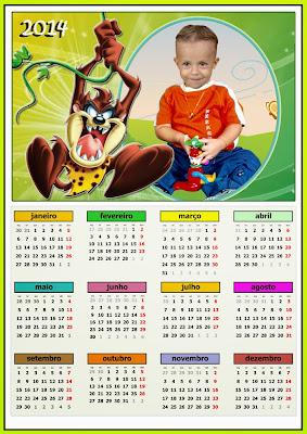 Calendário 2014 A4 Psd/Png - Taz-Mania
