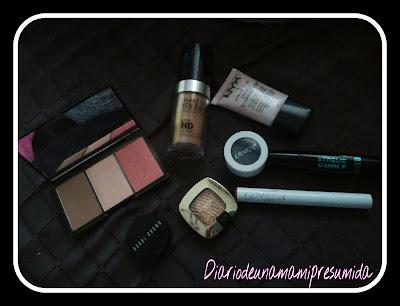 productos utilizados en el look luminoso, verde y labios rojos