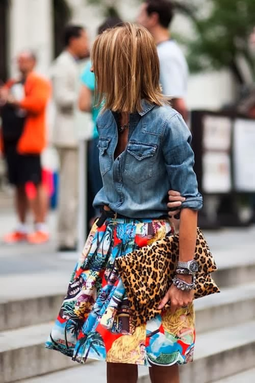 Colorful mini skirt and jeans shirt