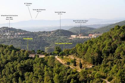 Vistes cap al Vallès, el Cim d'Àligues i el Tibidabo