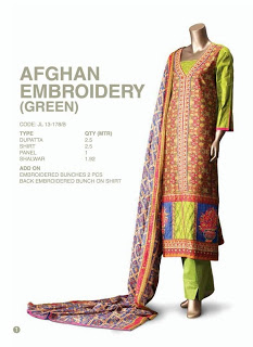 Afghan Embroidery Green Dress By Junaid Jamshed
