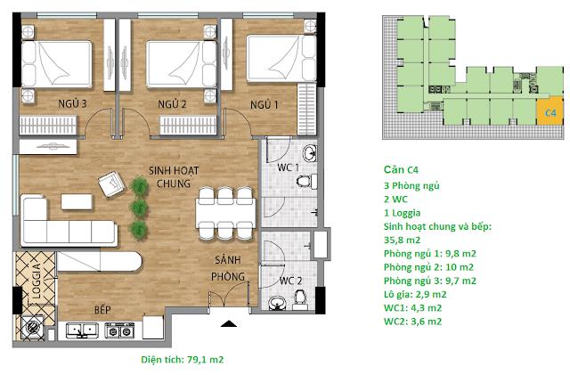 Căn hộ C4 79.1 m2 tầng 3-6 Valencia Garden