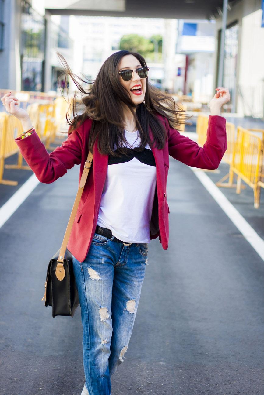 blazer burgundy