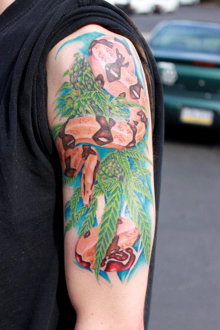 weed tattoo tattoos marijuana sleeve sitting snake designs danktat deviantart meaning leaf google
