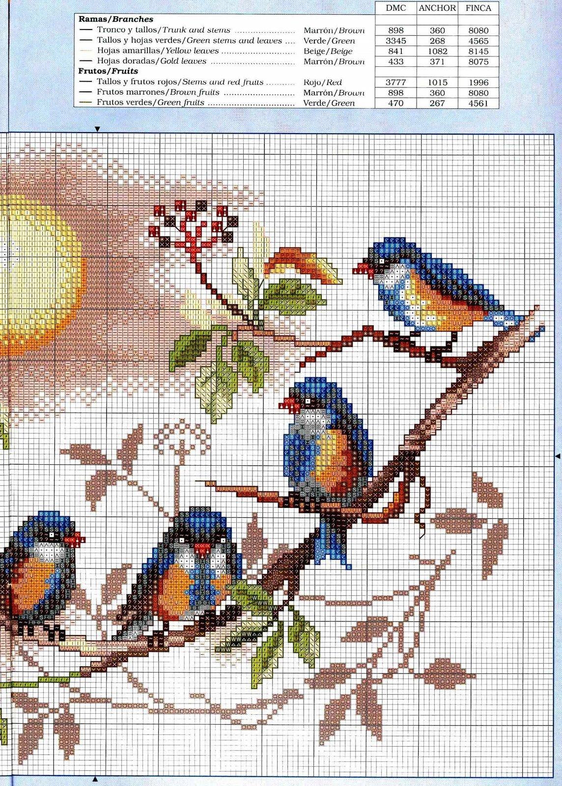 Схема вышивки птица фото