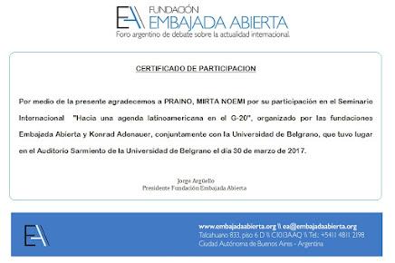 """Mirta Praino participo del  Lanzamiento de Women20 (W20) """"Hacia una Agenda Latinoamericana enl G20"""""""
