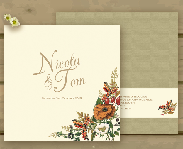 Autumn Orange Gold Botanical Wedding Invitations And Inspiration
