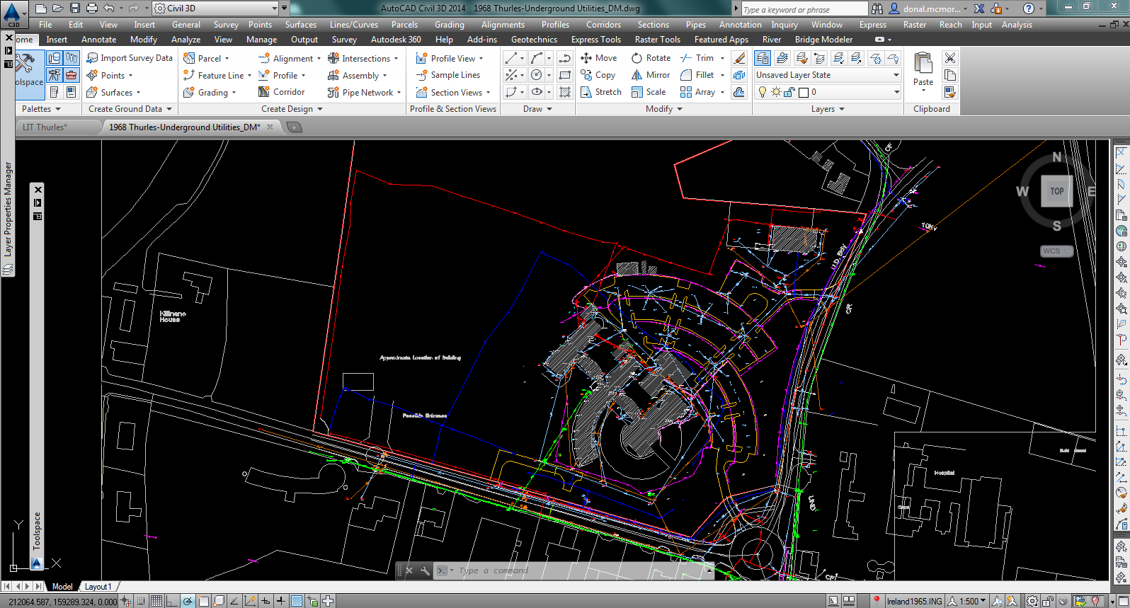 Create A Pipe Network From Survey Piping Layout Autocad Drawing Of The Surveyed Utilities