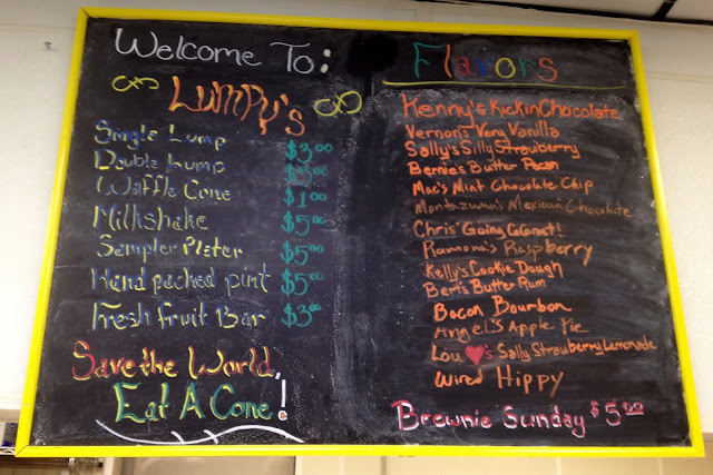 Lumpy's Ice Cream menu