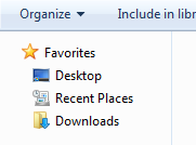 letak recent document pada windows7