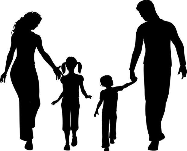 família, com, crianças, feliz