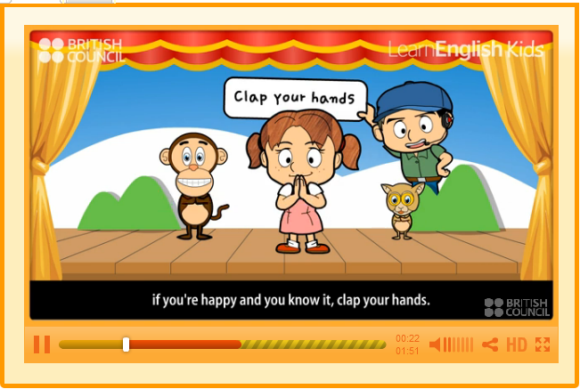 http://learnenglishkids.britishcouncil.org/es/songs/if-youre-happy-and-you-know-it