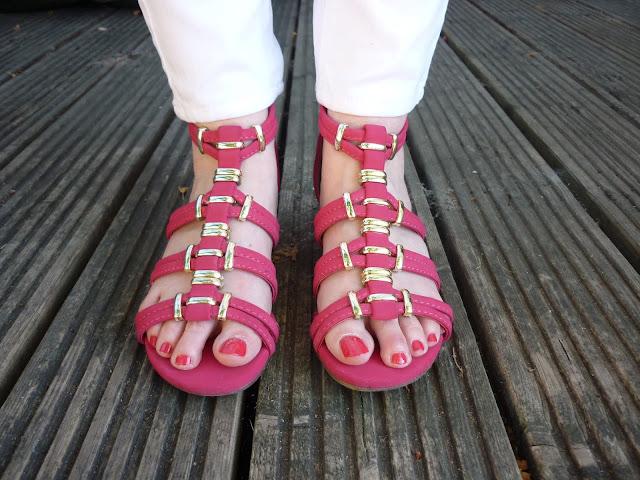 Pink Gladiator Sandals | Petite Silver Vixen
