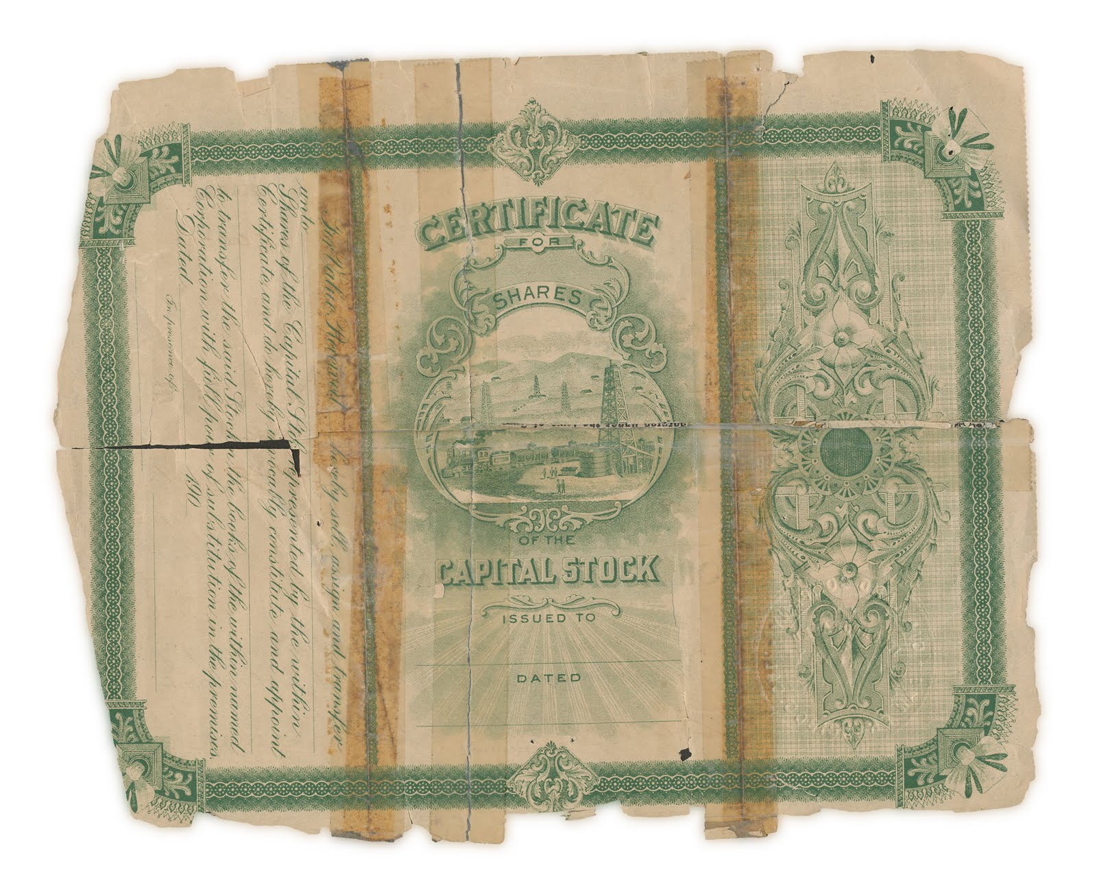 Oil and Land Company, 100 shares, reverse side