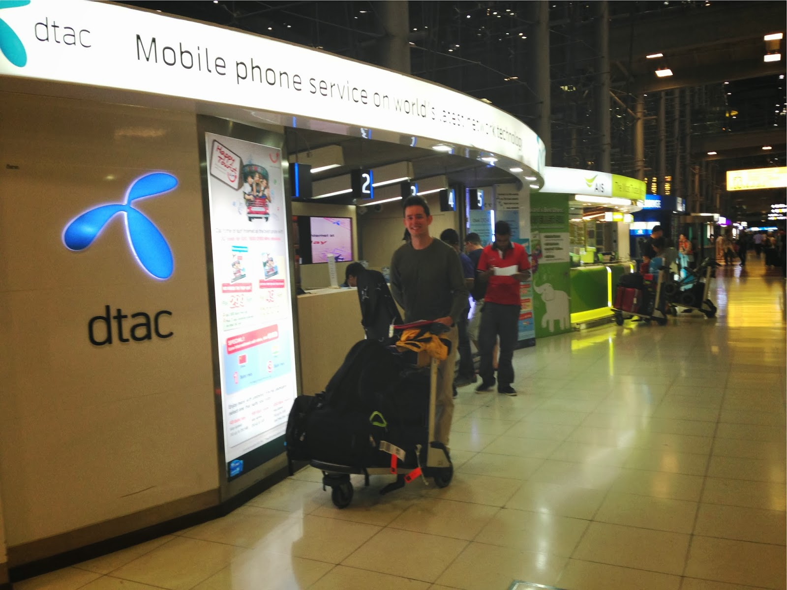 photo of mobile provider booths in the airport