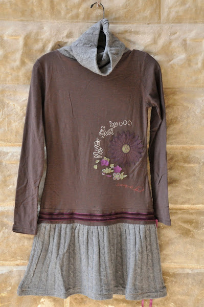 Ingola Knit dress with sweater cowl neck and attached skirt, S-XL, $128