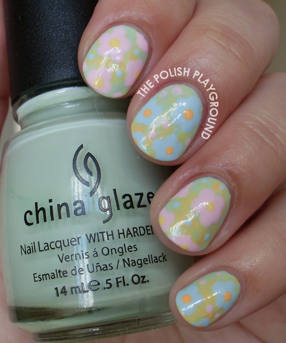 Pastel Themed Floral Nail Art
