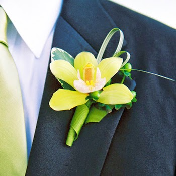 yellow orchid boutonniere
