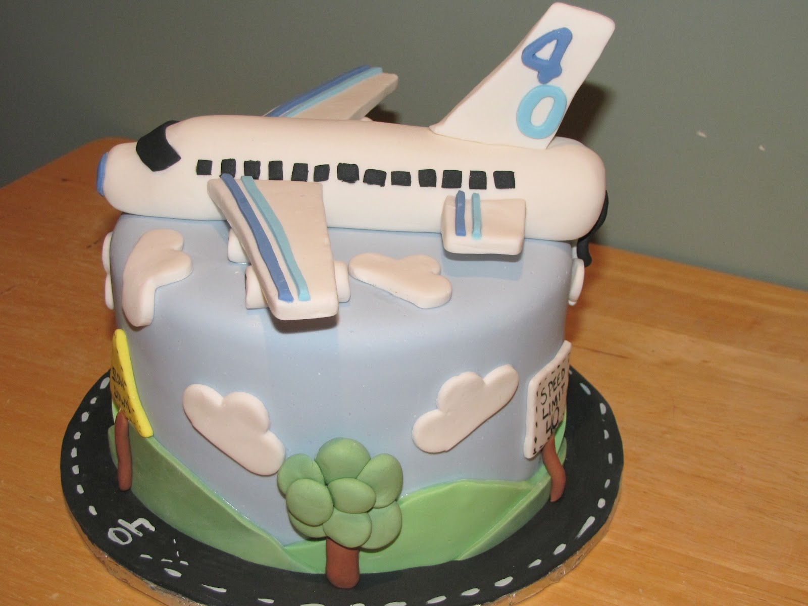 Ann Maries Creative Cakes 40th Airplane Cake and Cupcakes