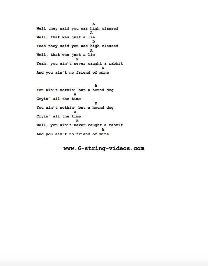 Guitar Tabs Tabs And Song Sheets For Hound Dog As Recorded By