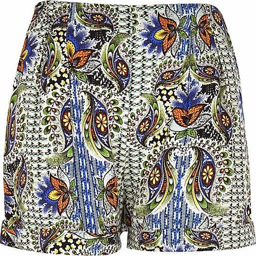 river island paisley shorts