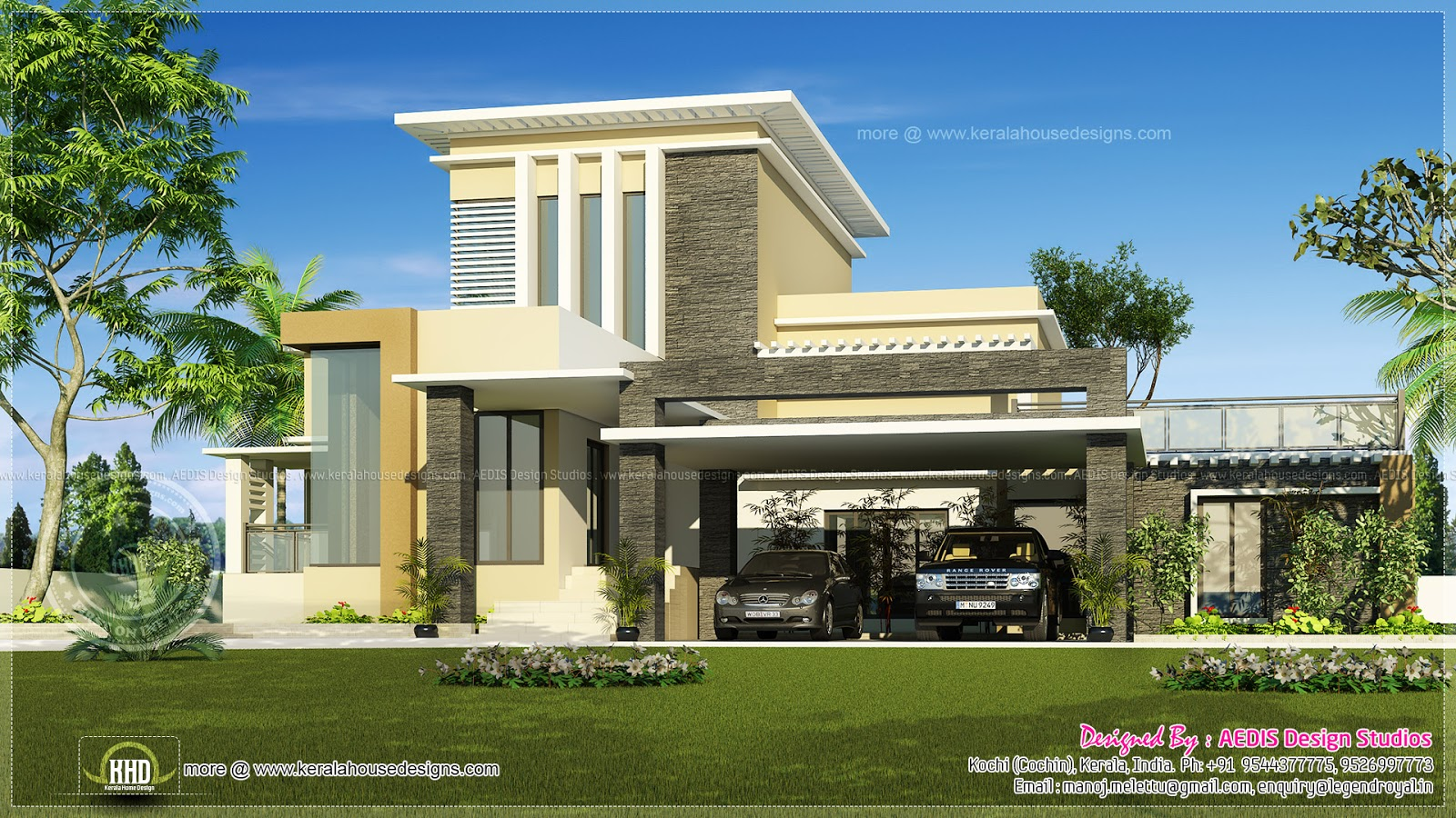 Flat roof contemporary home in 1750 sq ft home kerala plans Modern roof design