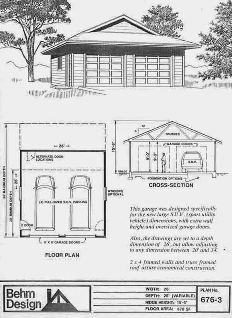 Garage Plans Blog Behm Design Garage Plan Examples Garage Plans 676 3 2 Car With Dutch Gable Roof 26 X 26