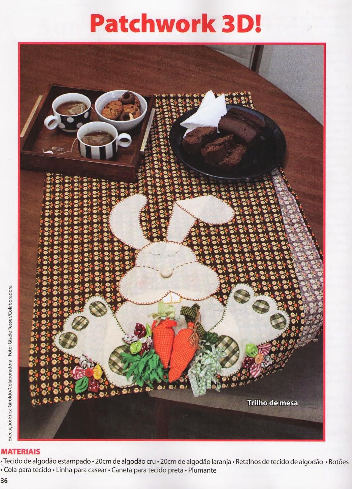 Caminho de mesa com patchwork para páscoa