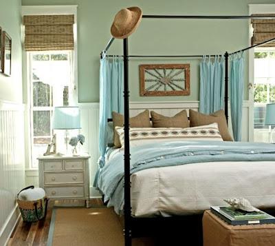 dormitorio decoración azul marrón