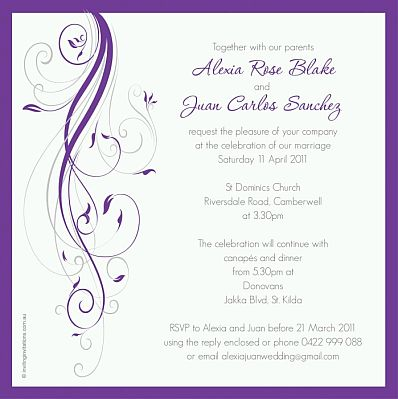 Tarjetas e invitaciones de boda moradas parte 2 - Modelos de tarjetas de boda ...