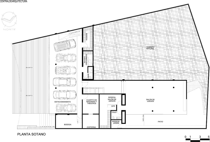 Basement floor plan of House La Punta by Central de Arquitectura