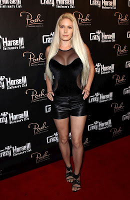Heidi Mintag sexy black leather shorts at red carpet Crazy Horse III's Third Anniversary in Las Vegas