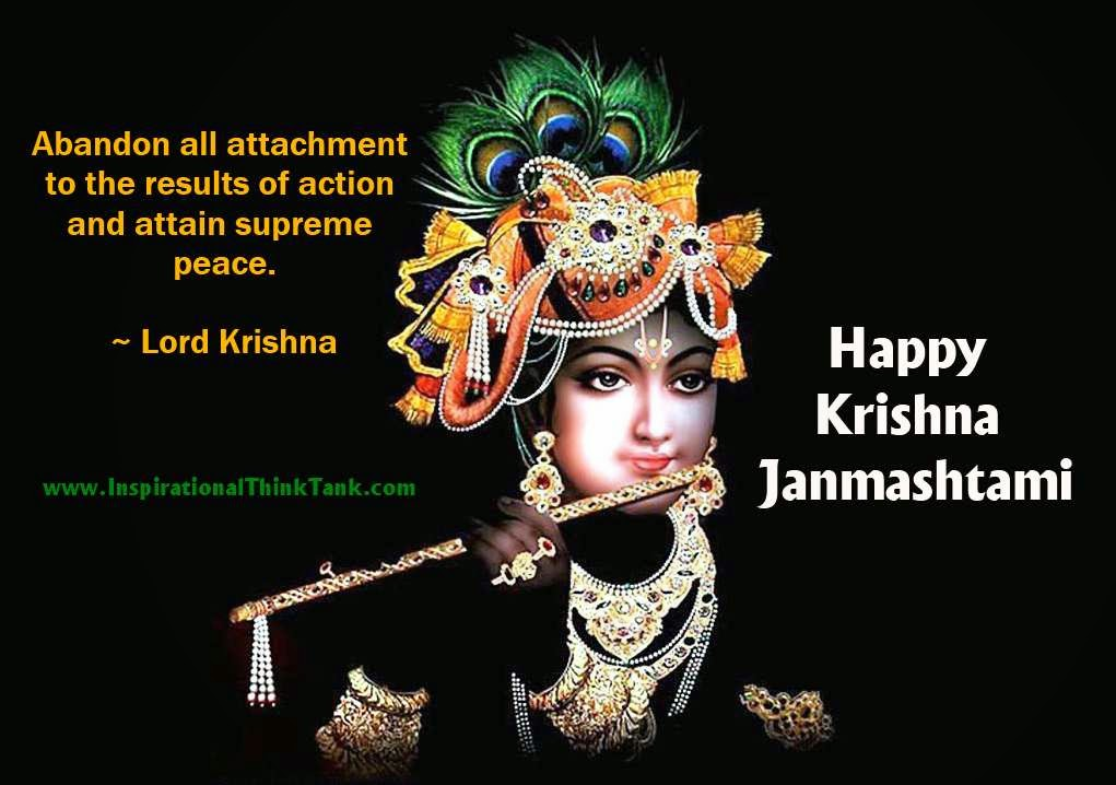 Krishna Janamashtmi Wallpaper With Inspirational Quote