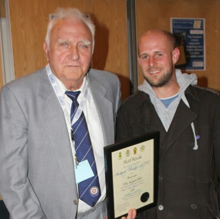 Matt receives his SCAN certificate from James Handford at the Launch night on 16 October 2010