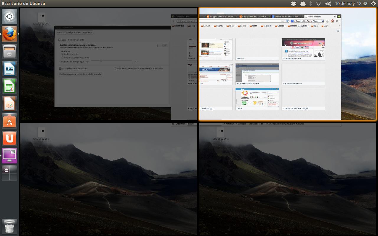 Añadir más espacios de trabajo en Ubuntu 13.04, activar escritorios virtuales ubuntu 13.04